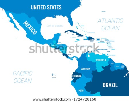 Central America map - green hue colored on dark background. High detailed political map Central American and Caribbean region with country, capital, ocean and sea names labeling. Сток-фото ©