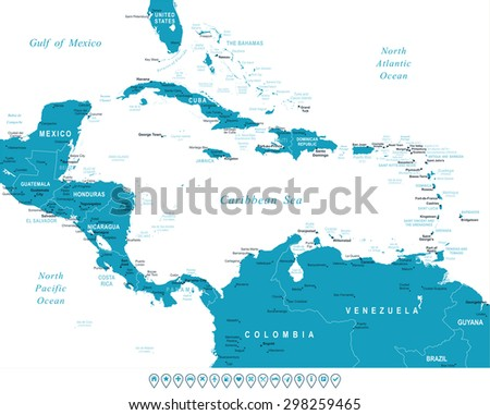 Blue Central America Map Vector - Download Free Vector Art, Stock ...