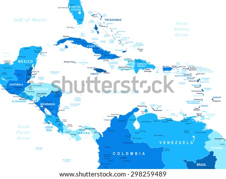Central America map - highly detailed vector illustration