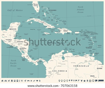 Central America Map - Vintage Detailed Vector Illustration
