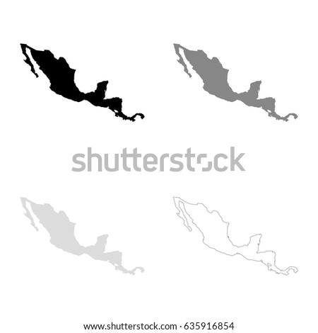 Central America maps in black, gray and line art. High detailed vector map, easy to edit.