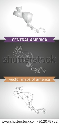 Central America. Set graphic vector maps of Central America, polygonal, grey, mosaic, triangle illustrations