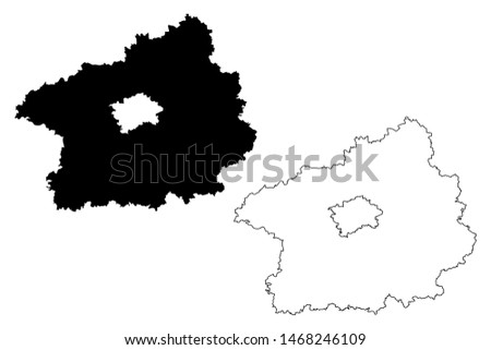 Central Bohemian Region (Bohemian lands, Czechia, Regions of the Czech Republic) map vector illustration, scribble sketch Central Bohemian map