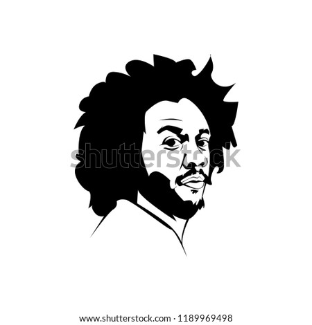 Central Java, Sept 20 2018: Line art vector  illustration face head Marcelo Vieira Brazilian professional footballer  Real Madrid and the Brazilian national team