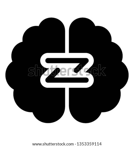 Central organ of human body, human brain icon