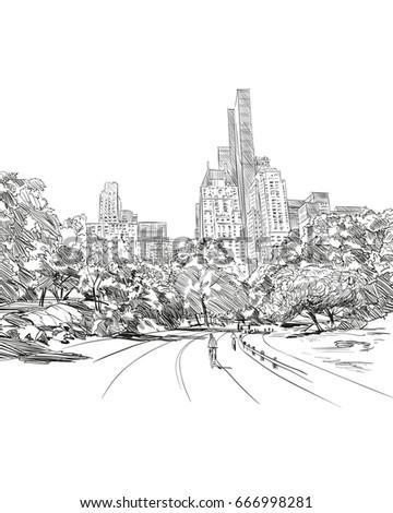 Central park. New York. USA. Hand drawn city sketch. Vector illustration.