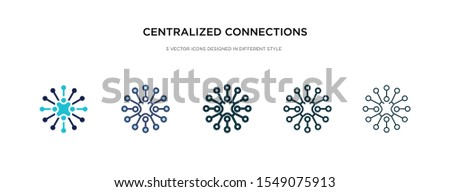 centralized connections icon in different style vector illustration. two colored and black centralized connections vector icons designed in filled, outline, line and stroke style can be used for