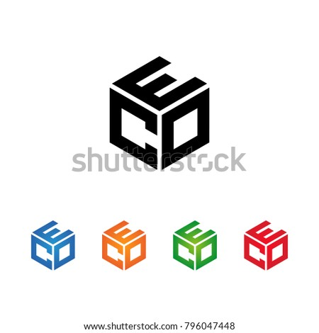CEO,COE,ECO,EOC,OCE,OEC Letter logo Template.Modern Style. Hexagon concept.Black,Blue,Orange,Green,Red color on white background