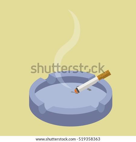 Ceramic ashtray with smokes cigarettes. No smoking concept. Flat vector illustration