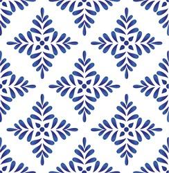 ceramic blue leaves pattern seamless vector, cute porcelain background design damask style