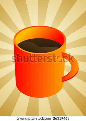 Ceramic coffee mug with brown beverage, illustration
