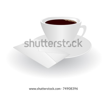 Ceramic cup of coffee placed on a platter along with the mail envelope