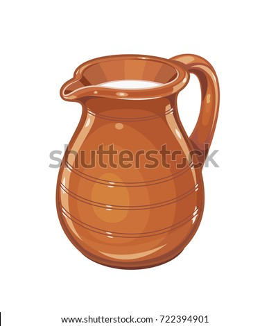 Ceramic jug with milk. Fictile tableware. Capacity for drink. Isolated white background. Vector illustration.