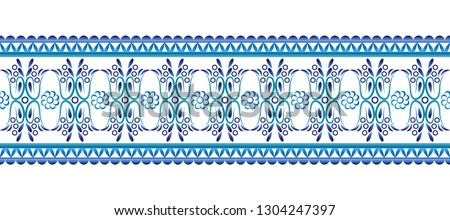 Ceramic tile border pattern. Islamic, indian, arabic motifs. Damask border seamless pattern. Porcelain ethnic bohemian background.  Abstract flower. Vector illustration #1304247397