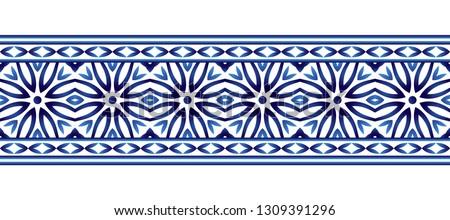 Ceramic tile border pattern. Islamic, indian, arabic motifs. Damask border seamless pattern. Porcelain ethnic bohemian background.  Abstract flower. Vector illustration #1309391296