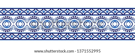 Ceramic tile border pattern. Islamic, indian, arabic motifs. Damask border seamless pattern. Porcelain ethnic bohemian background.  Abstract flower. Vector illustration #1371552995