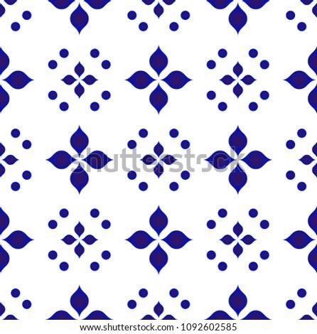 ceramic tile pattern vector, Porcelain background design, blue and white floral decor vector illustration