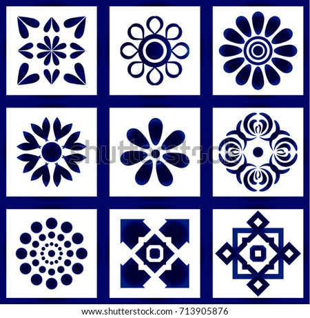 Ceramic Tile Pattern Vector Set Abstract Flower Art Decoration For Your Designbeautiful Blue