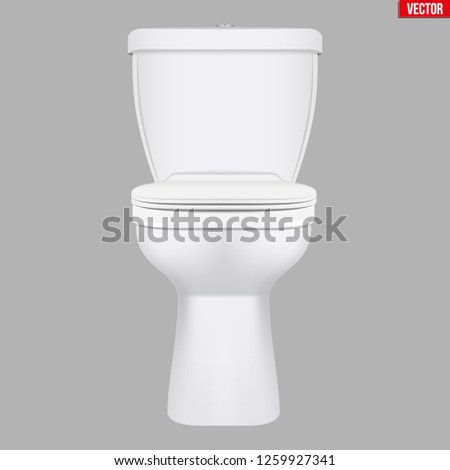 Ceramic toilet classic model. Front view. Equipment for bathroom and WC. Vector Illustration isolated on background.