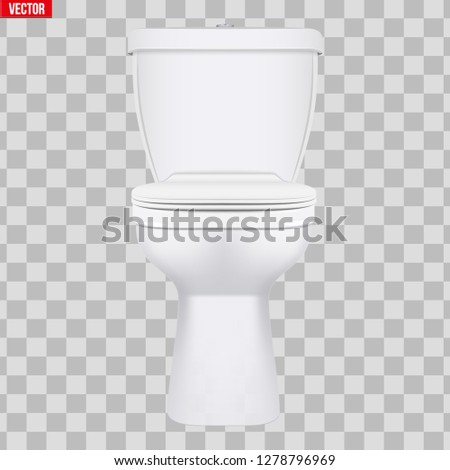 Ceramic toilet classic model. Front view. Equipment for bathroom and WC. Vector Illustration isolated on transparent background.