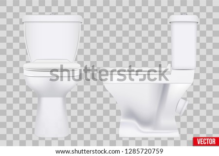 Ceramic toilet classic model set. Front and Side view. Equipment for bathroom and WC. Vector Illustration isolated on transparent background.