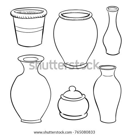 Ceramic Utensils on white background, Black and White simple line Vector Illustration for Coloring Book - Line Drawn Vector Illustration.