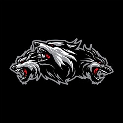 Cerberus Head Mascot Logo for Sport and Esport isolated on dark Background