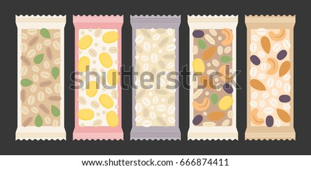cereal and granola bar, nuts, dry fruits such as raisin, cornflakes, cashew nuts, almond, pumpkin seed, sunflower seed, oat, wheat in transparent packaging, flat design vector
