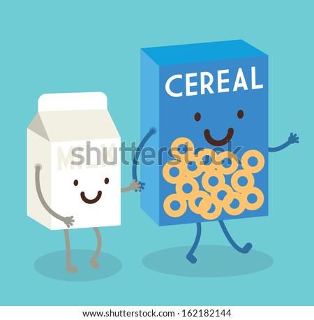 cereal and milk vector