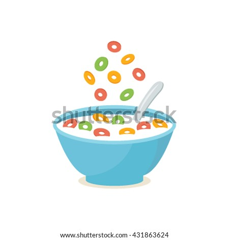 Shutterstock cereal bowl with splash of milk   A healthy and wholesome breakfast. flat vector illustration isolated on white background