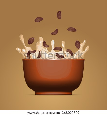 Corn Flakes Cereal Milk Splash Bowl Stock Vector (Royalty Free) 1043177293