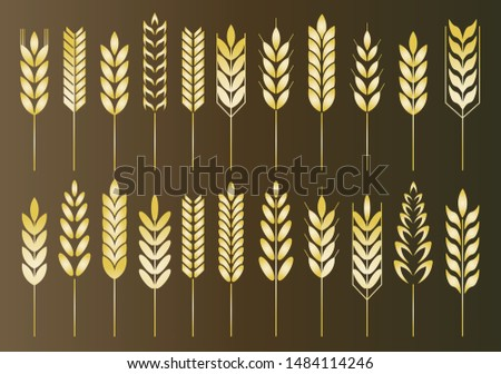 Cereal grain spikes icon shape. Agriculture food beer logo symbol. Vector illustration image. Isolated on white background. Oat, whey, barley, rye.