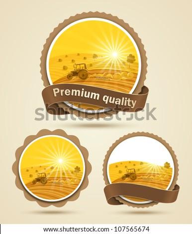 Cereal harvest label. Vector illustration Zdjęcia stock ©