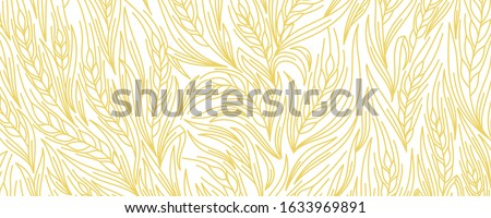Cereal rye bread background. Leaves and ears of wheat wrapper. Agriculture straw. Orange contour line vector. Horizontal banner.