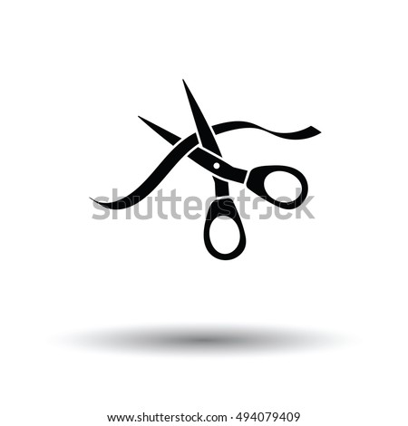 Ceremony ribbon cut icon. White background with shadow design. Vector illustration.