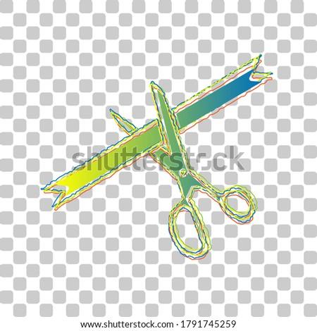 ceremony ribbon cut sign blue
