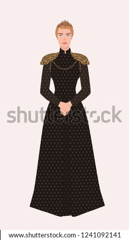 Cersei Lannister dressed in black clothing. Game of Thrones fictional character isolated on white background. Cartoon colorful vector illustration.