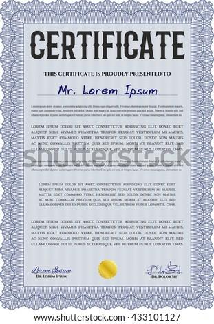 Certificate. Complex design. Printer friendly. Detailed. Blue color.