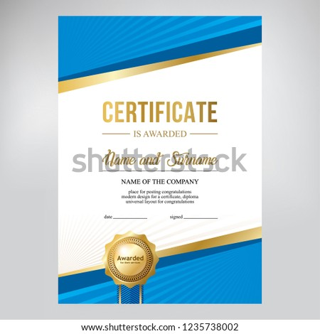 Certificate design, creative geometric blue background, template for diploma with gold medal