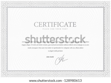 Certificate Design Gray Vector pattern that is used in currency and diplomas