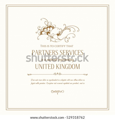 Certificate Design Template. Graphic design page. Wedding invitation. Decorative floral frame