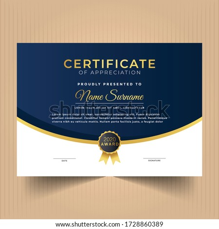 Certificate design template with red and dark colors, Modern certificate design template
