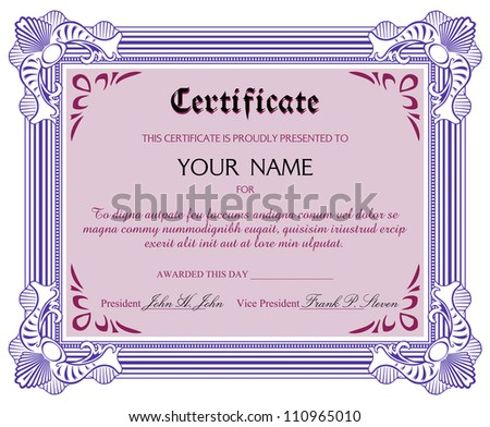 Certificate design with various replaceable elements