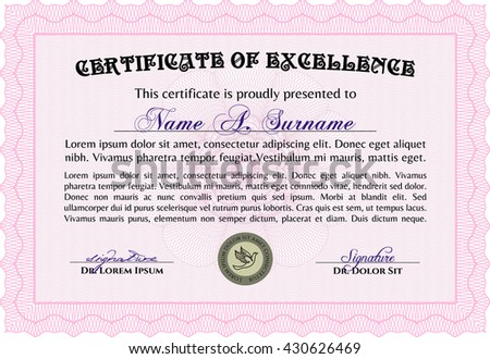 Certificate. Detailed. Complex design. Printer friendly. Pink color.