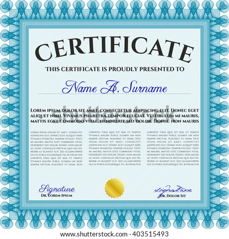 Certificate. Detailed. Printer friendly. Complex design. Light blue color.