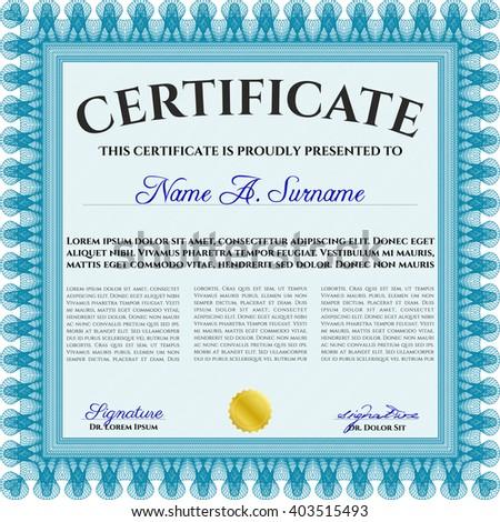 Certificate. Detailed. Printer friendly. Complex design. Light blue color.