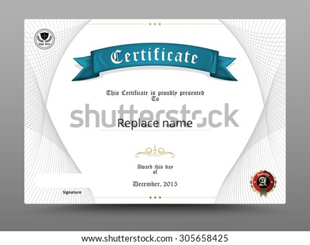 Certificate diploma border, Certificate template. Design on white background. Scale A4, A5. vector illustration.