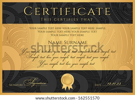 Certificate, Diploma of completion (black design template, dark background) with floral, filigree pattern, scroll border, frame. Gold Certificate of Achievement, coupon, award, winner certificate.