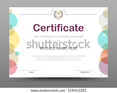Modern certificate vectors download free vector art stock certificate diploma of completion certificate of achievement design template vector illustration yadclub Image collections