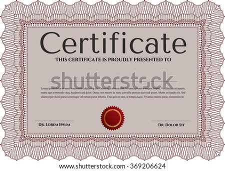 Certificate. Diploma of completion.Cordial design. With linear background.